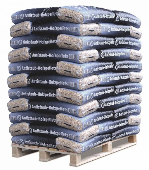 Europalette Antistaub-Holzpellets, abgepackt in 15kg Beutel