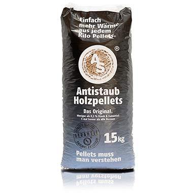 Schwarze Perle: Antistaub-Qualität bei Pellets, Holzpellets im 15kg Beutel Für Öfen im Wohnraum, wo Sie Staub und Partikel und Fremdkörper am allerwenigsten haben möchten